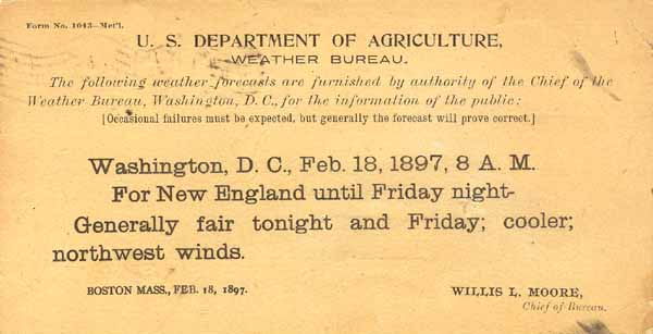 1897 US Dept of Agriculture Weather Forecast Postcard