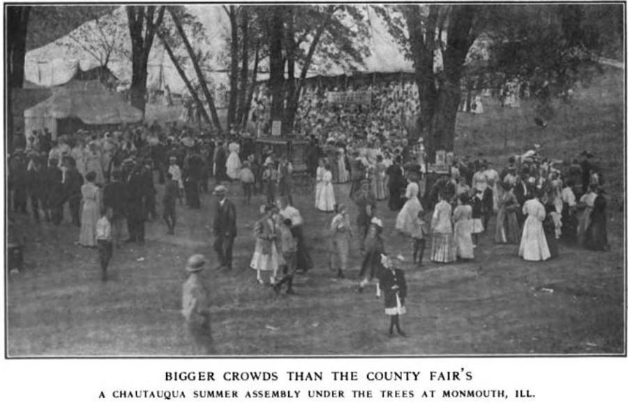 Bigger Crowds than the County Fairs - A Chautauqua Summer Assembly Under the Trees at Monmouth, Illinois.