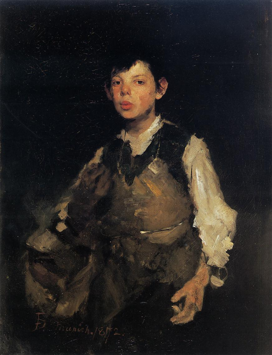 The Whilstling Boy - 1872 - Artist: Frank Duveneck (1848-1919)  Oil Painting on Canvas