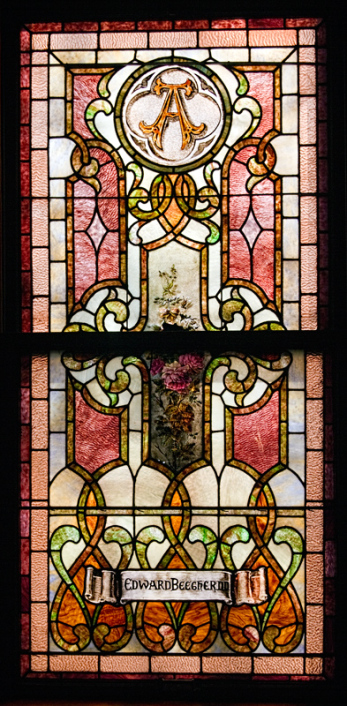 Stained glass window in Central Congregational Church, Galesburg, for former First Church pastor, Edward Beecher, 1858-1871