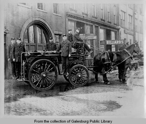 Galesburg Illinois Fire Fighters and Horse-drawn wagon, ca. 1900
