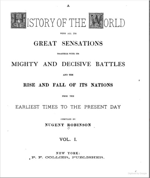 A History of the World with All Its Great Sensations - Colliers - 1887
