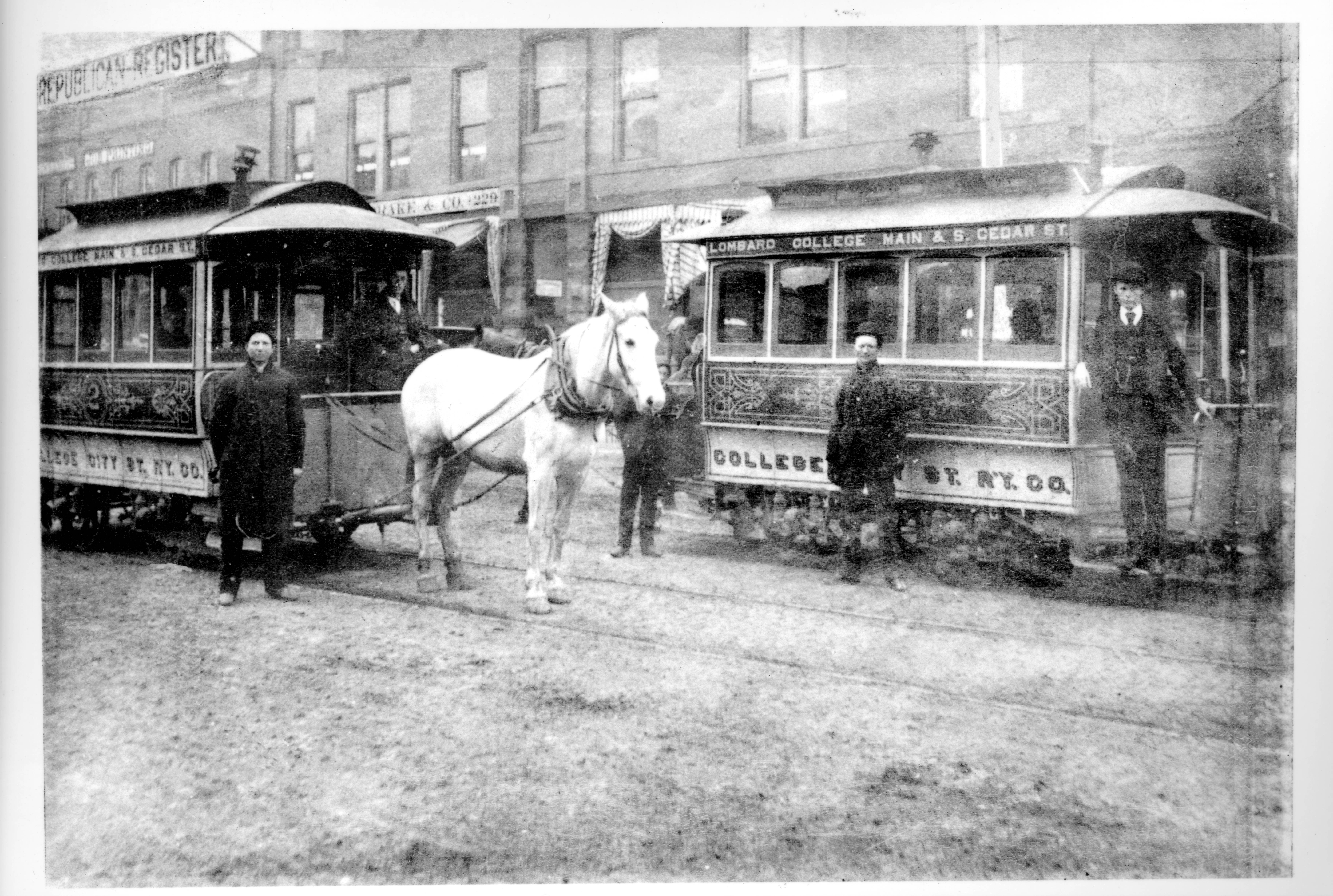 Horse-drawn Streetcars - Courtesy of Galeburg Public Library