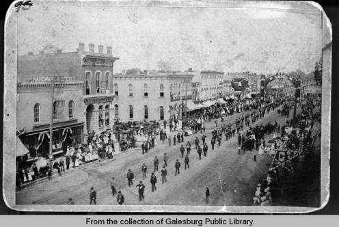 Mock Funeral Procession for President Ulysses S. Grant, Galesburg, IL.