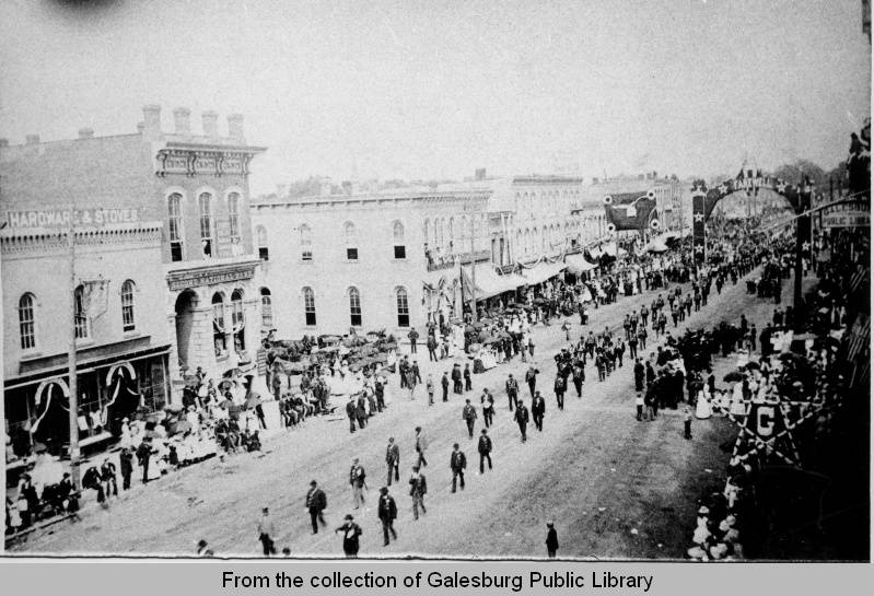 Mock Funeral for President Ulysses S. Grant - Galesburg, IL - 1885