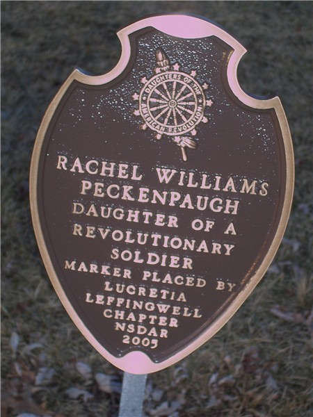 Rachel Peckenpaugh - Daughters of the American Revolution - Plaque