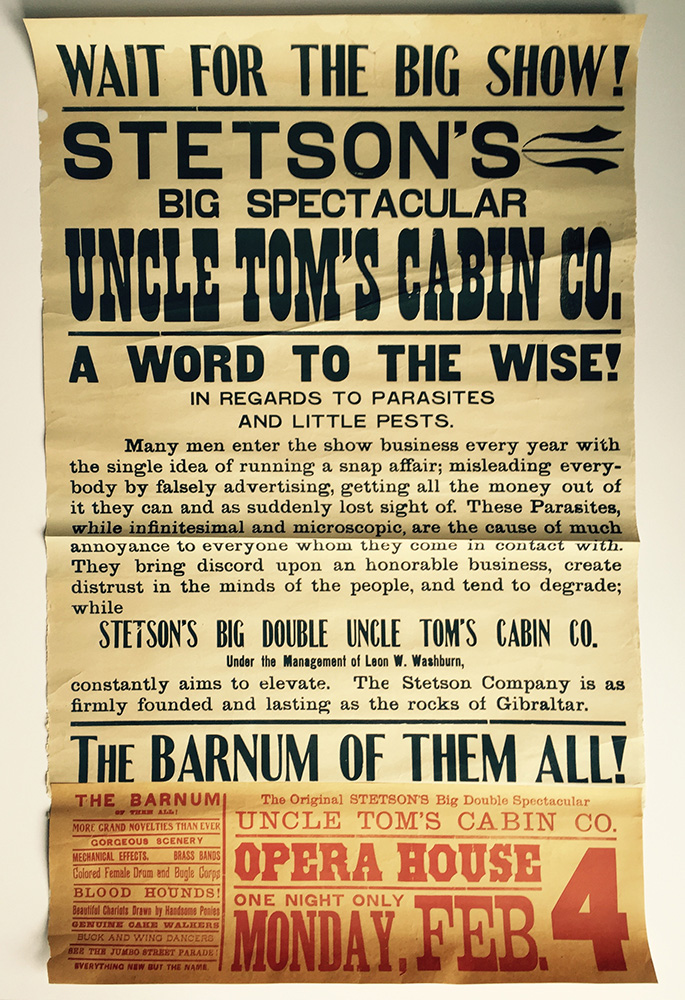 Stetson Company Poster - Uncle Tom's Cabin, ca. 1895.