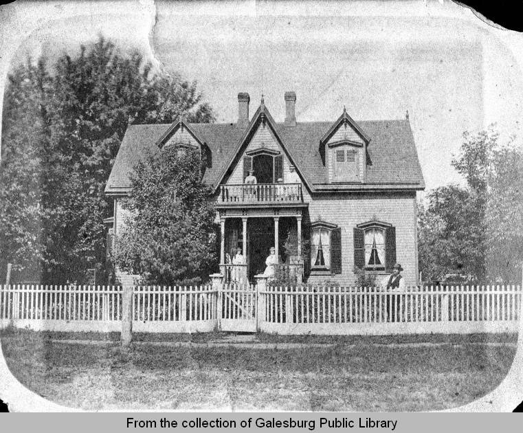 The back of the photograph states that the Stremmel home was at 246 S. Academy Street but the Galesburg City Directory places the house at 12 South Academy Street, Galesburg, Illinois.