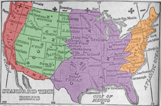 Standardized Time Zones, 1913