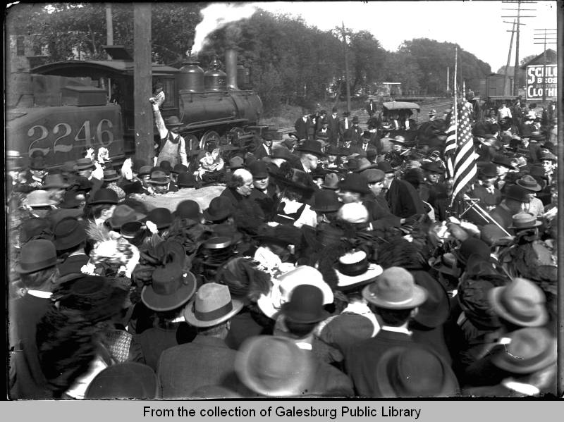 William Jennings Bryan at the CB&Q Depot, Galesburg, IL, 1901