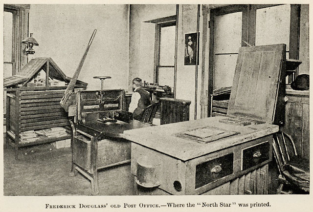 The newspaper office of Fredrick Douglass in Rochester, N.Y. looked pretty much like thousands of small newspaper offices all over the U.S. in the 19th Century. (Courtesy of the Rochester Public Library)
